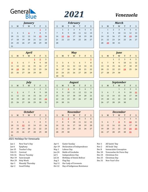 Venezuela Calendar 2021