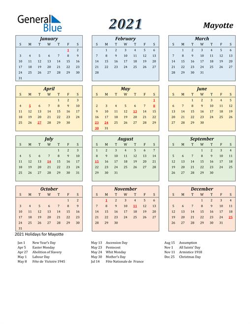 Mayotte Calendar 2021