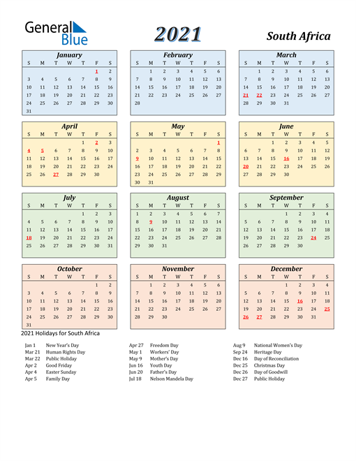 Image of South Africa 2021 Calendar with Color with Holidays