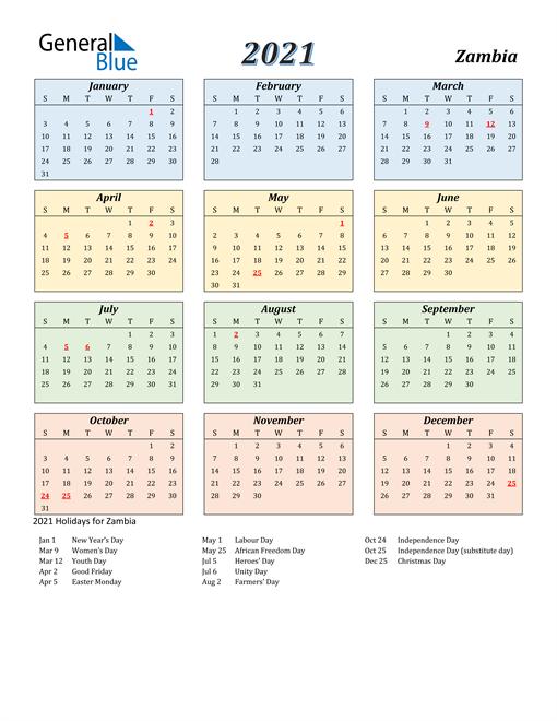 Zambia Calendar 2021
