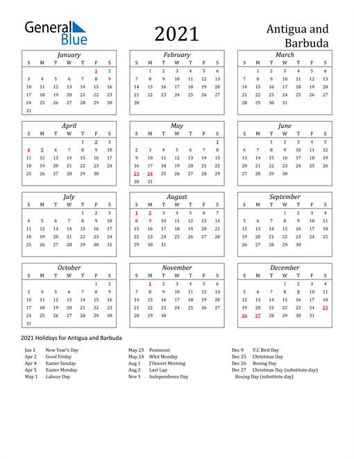 2021 Antigua and Barbuda Holiday Calendar