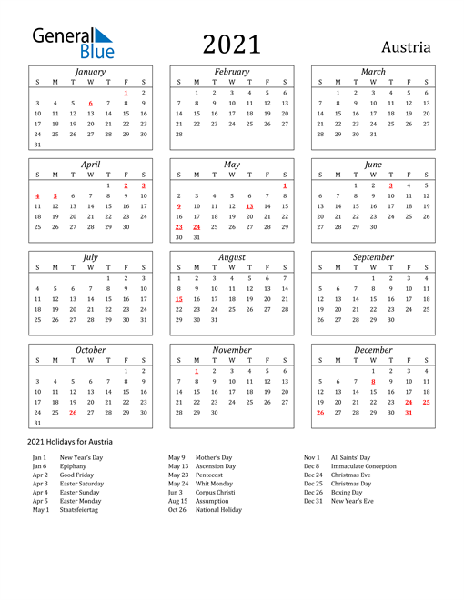 Image of Austria 2021 Calendar Streamlined Version with Holidays