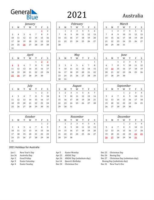 Image of Australia 2021 Calendar Streamlined Version with Holidays