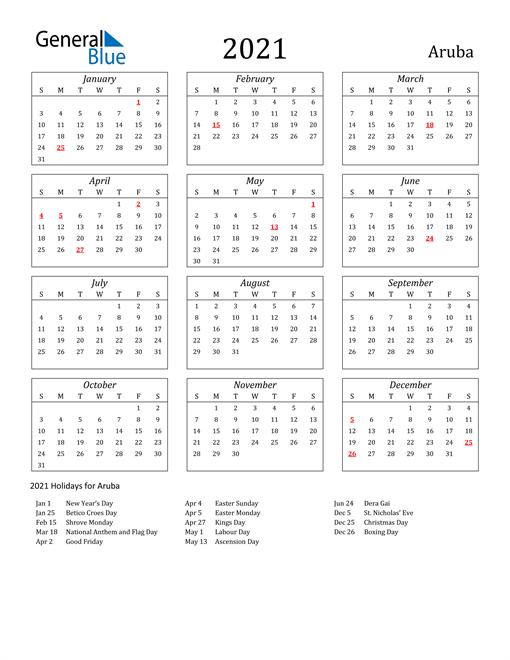 2021 Aruba Holiday Calendar