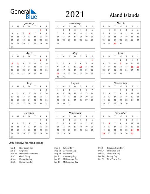 Image of Aland Islands 2021 Calendar Streamlined Version with Holidays