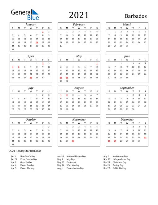 2021 Barbados Holiday Calendar