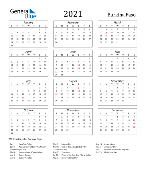 2021 Burkina Faso Holiday Calendar