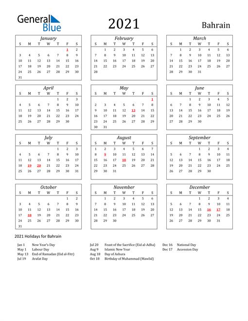 2021 Bahrain Holiday Calendar