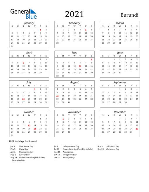 2021 Burundi Holiday Calendar