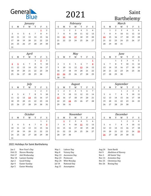 2021 Saint Barthelemy Holiday Calendar