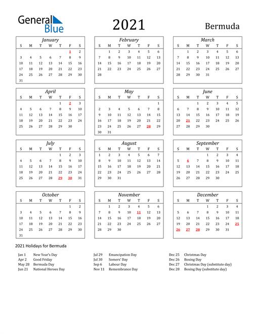 2021 Bermuda Holiday Calendar