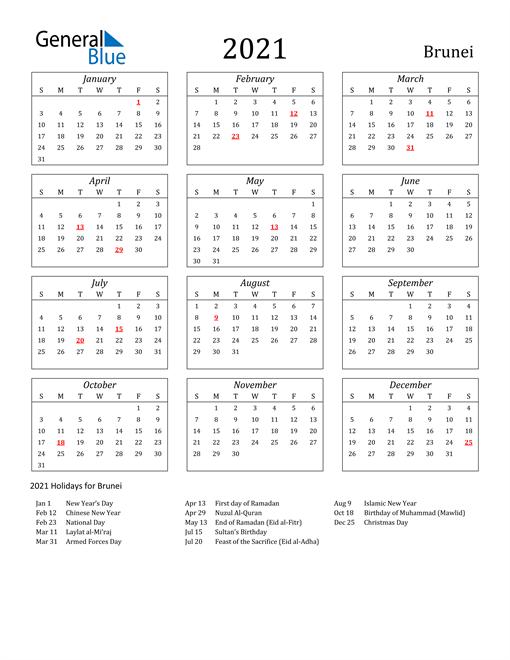 2021 Brunei Holiday Calendar