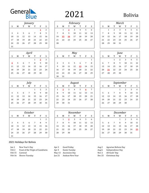 2021 Bolivia Holiday Calendar