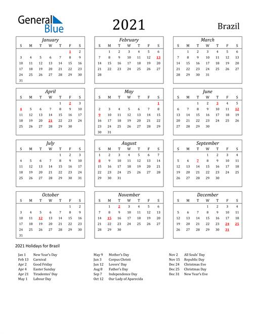 2021 Brazil Holiday Calendar