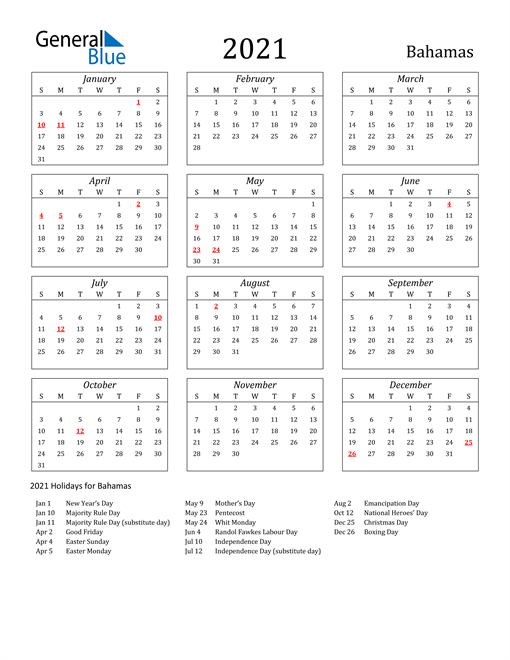 Image of Bahamas 2021 Calendar Streamlined Version with Holidays