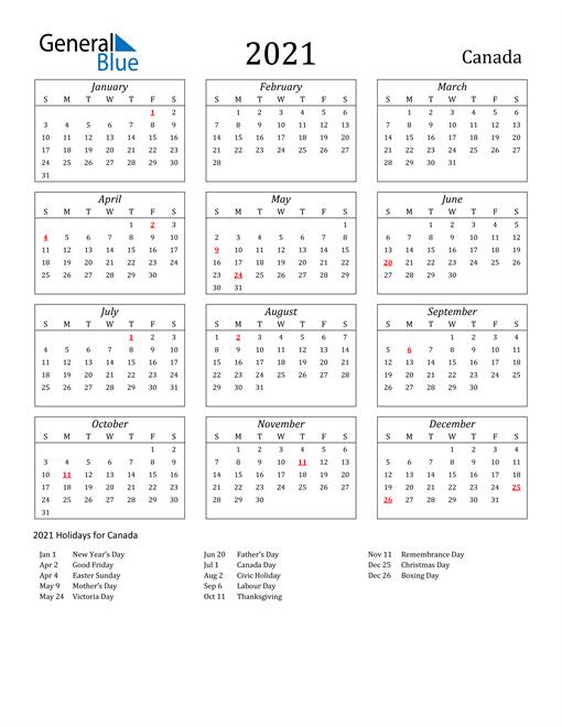 2021 Calendar - Canada with Holidays