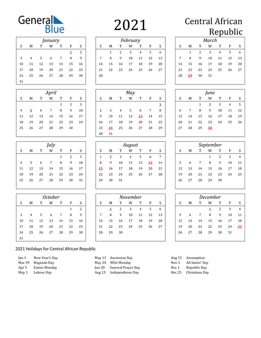 2021 Central African Republic Holiday Calendar