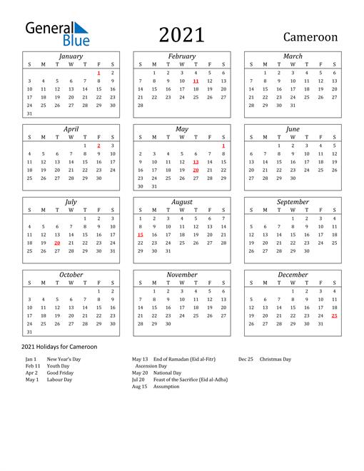 2021 Cameroon Holiday Calendar