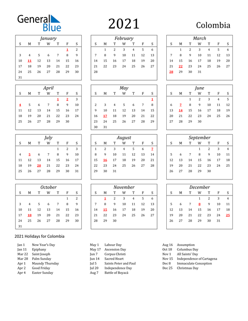 Image of Colombia 2021 Calendar Streamlined Version with Holidays