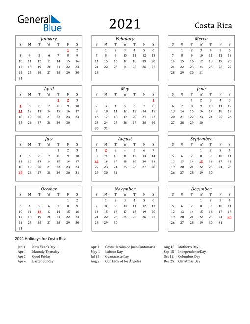 Image of Costa Rica 2021 Calendar Streamlined Version with Holidays