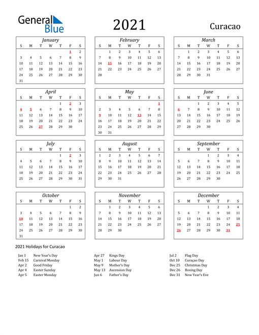 2021 Curacao Holiday Calendar