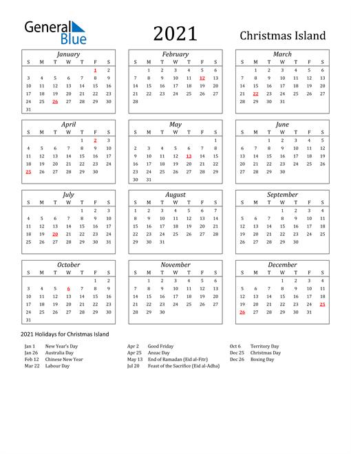 2021 Christmas Island Holiday Calendar