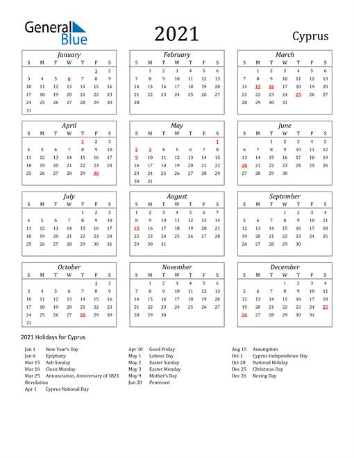 2021 Cyprus Holiday Calendar