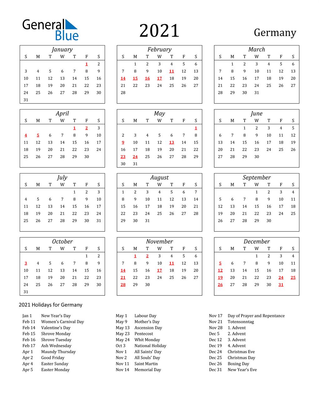 20 Germany Calendar with Holidays