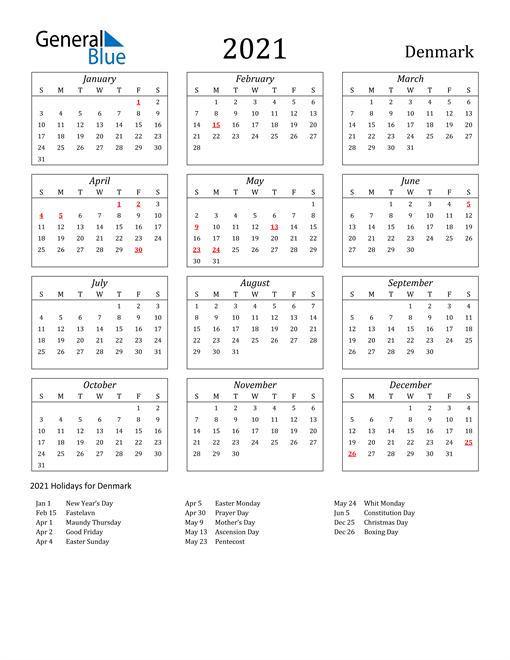 2021 Denmark Holiday Calendar
