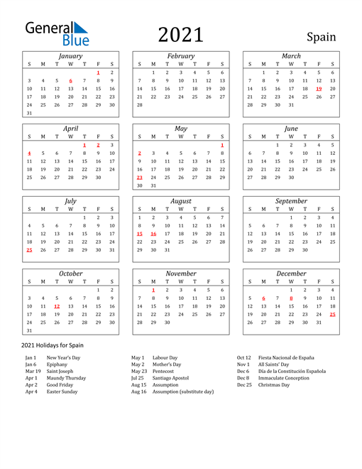 Image of Spain 2021 Calendar Streamlined Version with Holidays