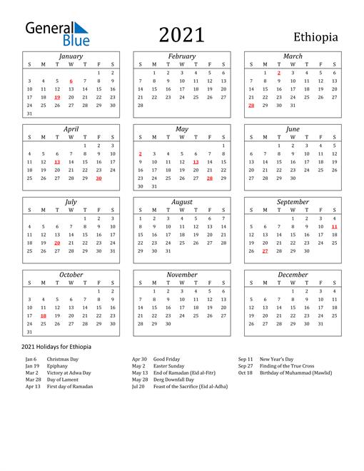 2021 Ethiopia Holiday Calendar