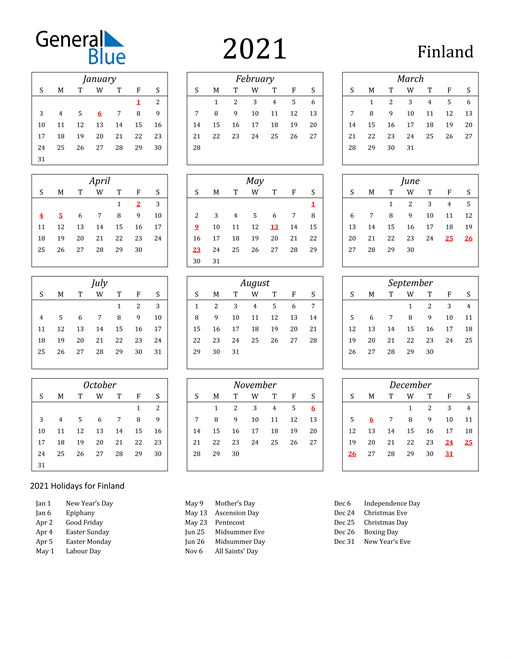Image of Finland 2021 Calendar Streamlined Version with Holidays