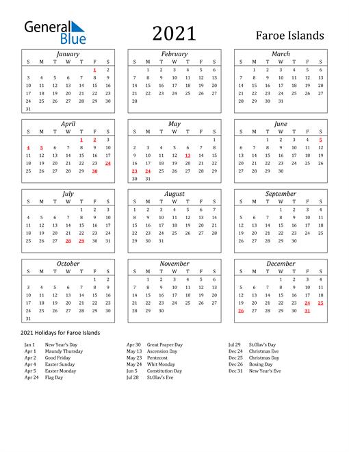 2021 Faroe Islands Holiday Calendar