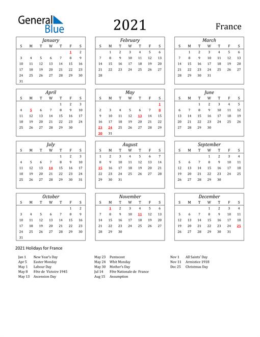 2021 calendar streamlined with holidays portrait en fr