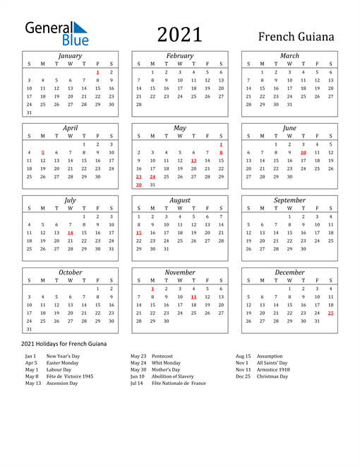 Image of French Guiana 2021 Calendar Streamlined Version with Holidays