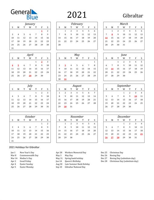 2021 Gibraltar Holiday Calendar