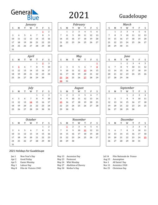 2021 Guadeloupe Holiday Calendar