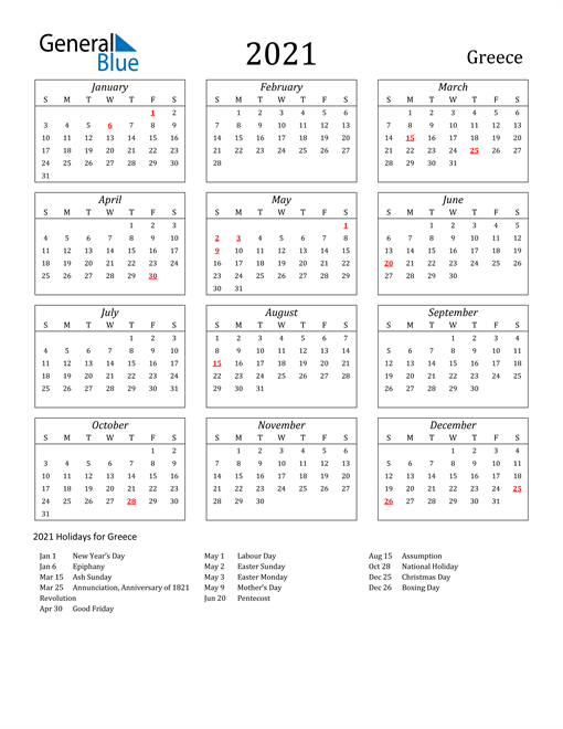 Image of Greece 2021 Calendar Streamlined Version with Holidays