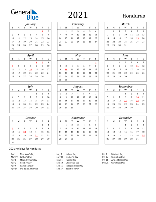 Image of Honduras 2021 Calendar Streamlined Version with Holidays