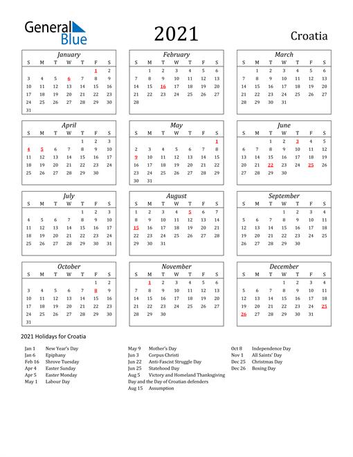 Image of Croatia 2021 Calendar Streamlined Version with Holidays