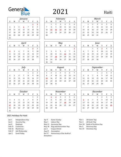 2021 Calendar - Haiti with Holidays