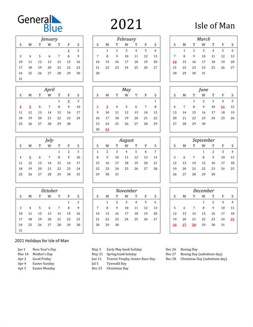 2021 Isle of Man Holiday Calendar