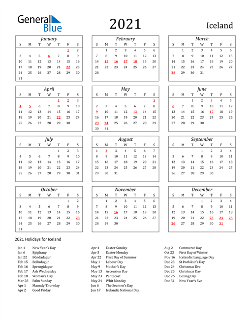Image of Iceland 2021 Calendar Streamlined Version with Holidays