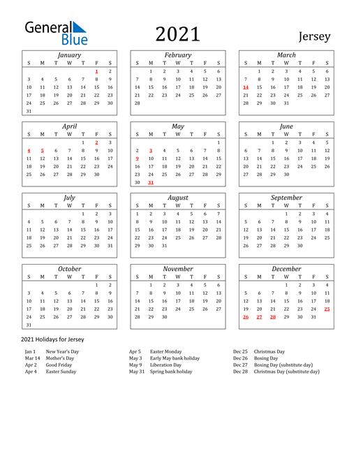 2021 Jersey Holiday Calendar