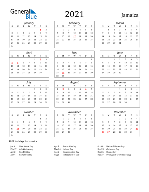 2021 Jamaica Holiday Calendar
