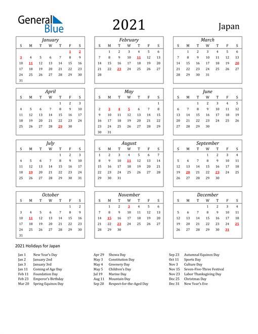 2021 Japan Holiday Calendar