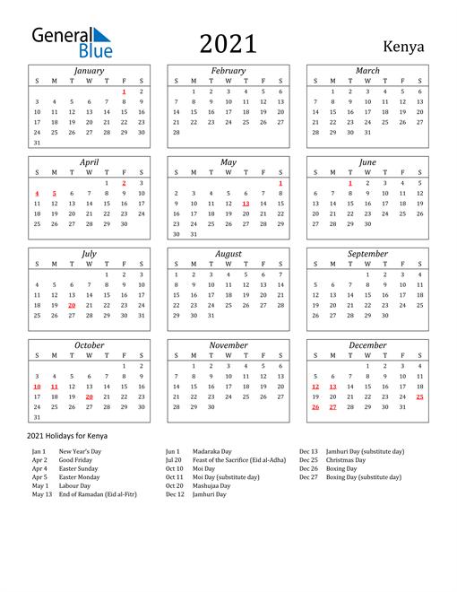 2021 Kenya Holiday Calendar