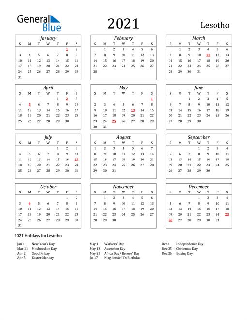 2021 Lesotho Holiday Calendar