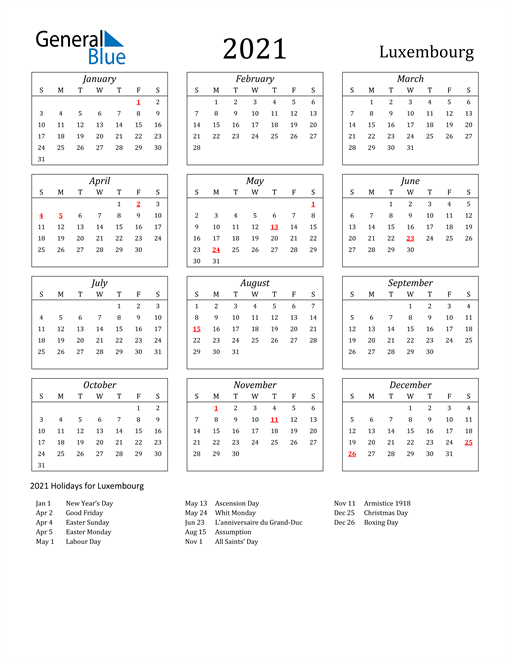 Image of Luxembourg 2021 Calendar Streamlined Version with Holidays