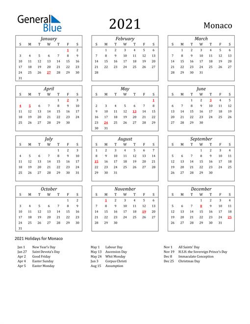 Image of Monaco 2021 Calendar Streamlined Version with Holidays